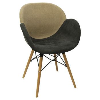 Пластиковый стул с обивкой, деревянные ножки 600x580x840 мм, коричневый бежевый