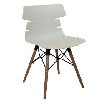 купить Пластиковый стул, деревянные ножки с металлической опорой 510x500x810 мм, белый в Кишинёве