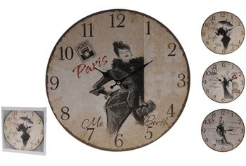 """Часы настенные круглые 34cm """"Ретро"""" города/бабочки/кoфе"""