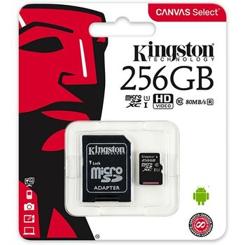 256GB microSD Class10 UHS-I + SD adapter  Kingston Canvas Select, 400x, Up to: 80MB/s