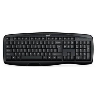 Genius KB-128 Smart Keyboard, Ergonomic design with palm rest, mid-low profile, water spill resistant, USB, Black