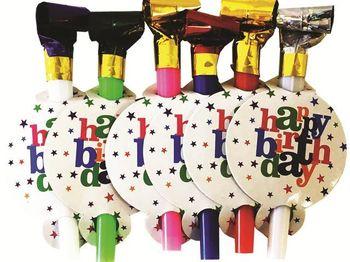 Набор дудок с языком Happy Birthday 6шт
