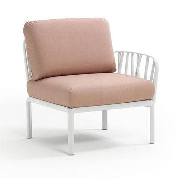 Кресло модуль правый / левый с подушками Nardi KOMODO ELEMENTO TERMINALE DX/SX BIANCO-rosa quarzo 40372.00.066