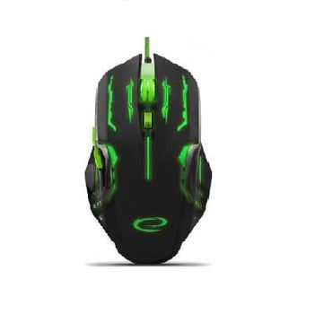 Esperanza APACHE MX403, Optical Mouse for professional game players, 6D, 800/1200/1600/2400 DPI, illuminated, braided cable 1.5m, USB, Green