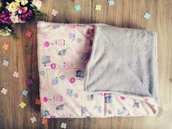 Пледик для новорожденных PAMPY совушки с серым