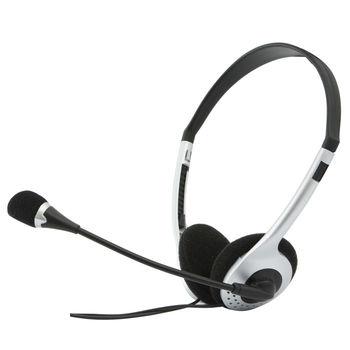 SVEN AP-010MV, Headphones with microphone, Volume control, 2.0m, Black/Silver
