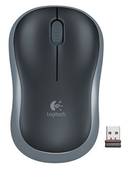 Mouse Logitech Wireless M185 Swift Grey, Optical Mouse for Notebooks, Nano receiver,  Grey/Black, Retail