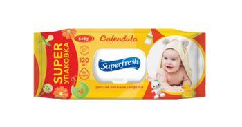 Влажные салфетки для детей SuperFres, желтый, 120 шт.
