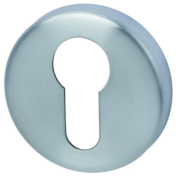 Дверная ручка на розетке Arena хром сатин + накладка под цилиндр