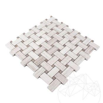 купить Мозаичная мраморная корзина Плетение Афины Серый и белый лес в Кишинёве