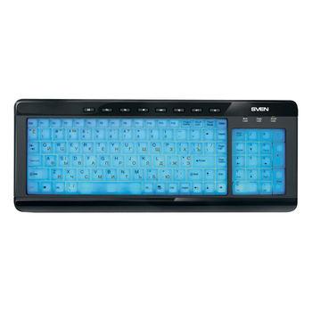 SVEN Comfort 7200 EL, Multimedia Keyboard, 8-keys, total key surface backlighting, Utterly transparent keys, Glossy and mat surfaces, USB, Black