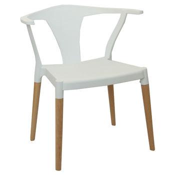 cumpără Scaun din plastic şi picioare de lemn 560x675x750 mm, alb în Chișinău