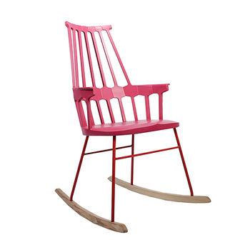 cumpără Scaun leagăn din lemn cu spate înalt, picioare din metal, 730x610x990 mm, roz în Chișinău