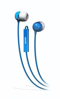 "MAXELL ""PLUGZ"" Blue, Earphones with in-line Microphone, Hands free calling features, 3 sets of ear tips, Fabric braided cord, Cord type cable 1.2 m"