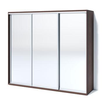 Шкаф купе 2400 3 зеркала, орех тёмный