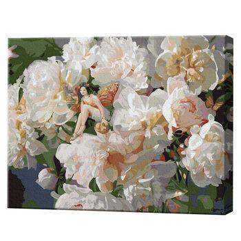 Фея на белых пионах, 40х50 см, роспись по номерам