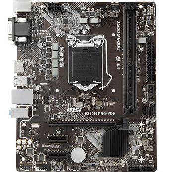 MSI H310M PRO-VDH, Socket 1151, Intel® H310 (8th Gen CPU), Dual 2xDDR4-2666, 1xPCIe X16, CPU Intel graphics, VGA, DVI, HDMI, 4xSATA3, 2xPCIe X1, ALC887 7.1ch HDA, GbE LAN, 4xUSB3.1, mATX