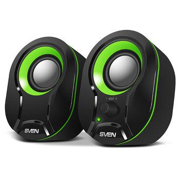 SVEN 290 Black-Green (USB),  2.0 / 2x2,5W RMS, Power LED, USB power supply