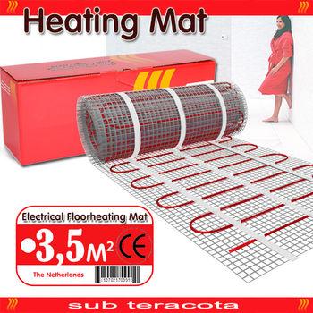 Электрический теплый пол 0,5 x 7,0 нагревательный мат (кабель) на сетке