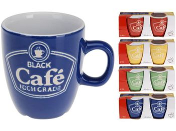 """Set cani 150ml 2buc pentru cafea """"Cafe"""", ceramica, diverse culori"""