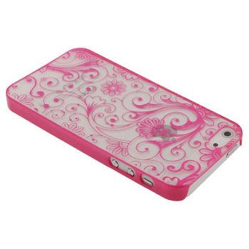 Чехол для iPhone 5 / 5S Розовый рисунок прозрачный