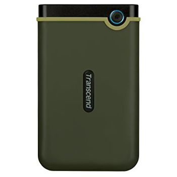 """2.5"""" External HDD 1.0TB (USB3.0)  Transcend StoreJet 25M3G Slim, Military Green, MIL-STD-810G 516.6., Durable anti-shock RUBBER outer case,  Advanced internal hard drive suspension system, One Touch Backup, Quick Reconnect Button"""