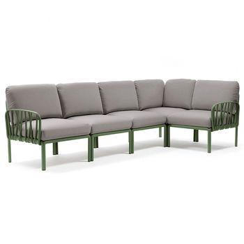 Canapea Coltar Nardi KOMODO 5 AGAVE-grigio 40370.16.163 (Canapea Coltar cu 5 locuri pentru gradina exterior)