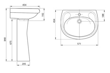 Умывальник с пьедесталом Santeri Vorotinski 57x45