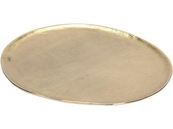 Поднос алюминиевый овальный 35X32cm, золотой