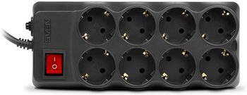 Surge Protector SVEN Optima Pro, 8 Sockets, 1.8m,  Black
