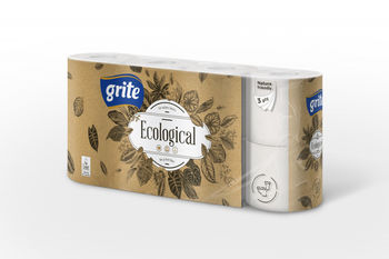 GRITE - Туалетная бумага Plius Ecological 3 слоя 8 рулона 14,85м