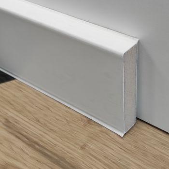 купить Плинтус DOLLKEN Cubu flex life 80mm XL, 2,5 м/1 пл (25 м/1 уп) (HDF ламинир. пластиком) цвет: белый в Кишинёве