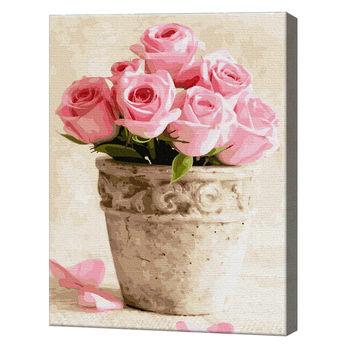 Розовые розы в горшочке, 40х50 см, картина по номерам Артукул: GX36494