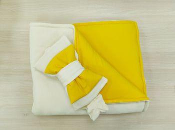 Конвертик-одеялко 100*80 см Велюровый молочный c желтым