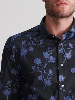 Рубашка RESERVED Темно синий с принтом ws829-59x