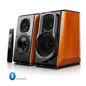 Edifier S2000 Pro, Hi-Fi 2.0/ 124W (2x62W) RMS, Bluetooth (aptX), Three-amping, Audio in: two digital (Optical, Coaxial) & two analog (RCA), remote control, wooden