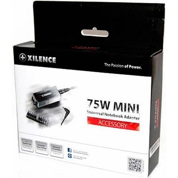 XILENCE XP-LP75.XM008, 75W Mini, Universal Notebook Power Adapter, 11 +1 (LENOVO) different tips, LED display (shows the actual output voltage), Input Voltage: AC 100-240V, Output Voltage: 15-24V, high efficiency over 87%, Black