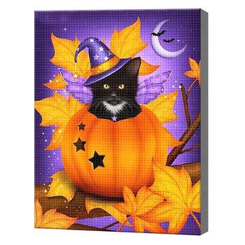 Котик в тыкве, 40x50 см, aлмазная мозаика