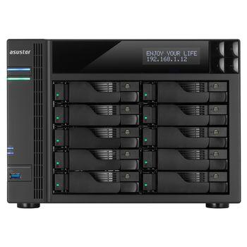 "10-bay NAS Server  ASUSTOR ""AS6210T"", Intel Celeron N3150 (Quad-Core) 1.6-2.24GHz, 4GB DDR3L(Max.8GB), 2.5""/3.5""SATA x10 (Hot Swap), LCD Panel, USB3.0 x3, USB2.0 x2, eSATA x2, Gigabit LAN x4, HDMI, S/PDIF, AES-NI, HT, IR, Surveillance: <25 (4 Free)"