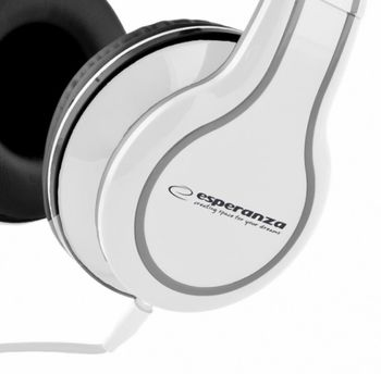 """Esperanza EH136W """"BLUES"""" White, Stereo audio Headphones with Volume control, 5 m cable lenght"""