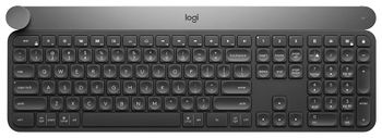 Logitech Wireless Keyboard CRAFT with creative input dial, Logitech Unifying 2.4GHz wireless technology, Bluetooth Low Energy, Rechargeable with USB type C, Black