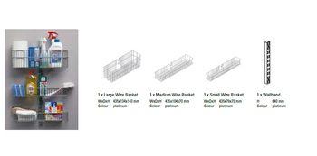 купить Набор для дверей/стен, состоящий из 3 маленьких металлических корзин и белого профиля 640x435 мм в Кишинёве