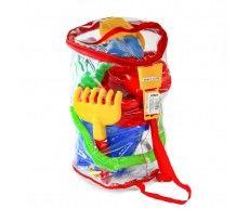 """Песочный набор """"Castle"""" 6 elem. в рюкзаке, красный, код 42620"""