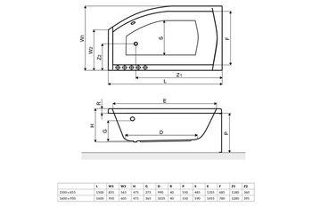 Ванна асимметричная Excellent Magnus 150