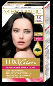 Краска для волос,SOLVEX Miss Magic Luxe Colors, 108 мл., 3.0 - Натуральный тёмно-коричневый