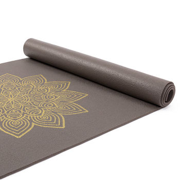 Коврик для йоги Bodhi Yoga Rishikesh Premium 60 with golden Mandala TAPE