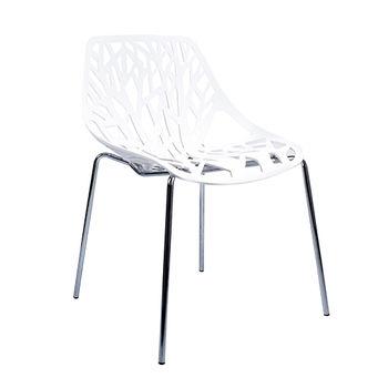 купить Пластиковый стул с хромированными ножками, спинка перфорированная 570x530x800 мм, белый в Кишинёве