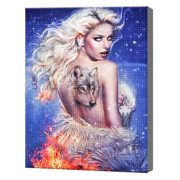 Блондинка с тату волка, 30x40 см, aлмазная мозаика