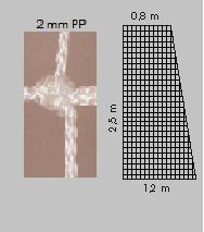 Сетка для футбола / 7.5х2.5х0.8х1.2 м / 2 мм / nr. 632 (2658)