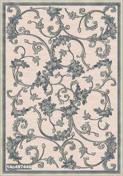 Ковер F-she 14c497440, вьющиеся райские цветы, фактура, холодный фон